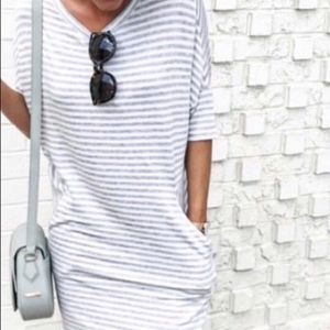 Grey and white striped dress with pockets